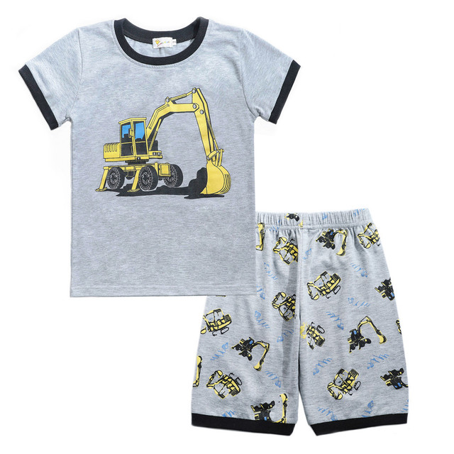 Kids Boys Clothes Cartoon Tops T-Shirt excavator Shorts Child Clothing Set Tracksuit Sports Suits For Boys 1 2 3 4 5 6 Years