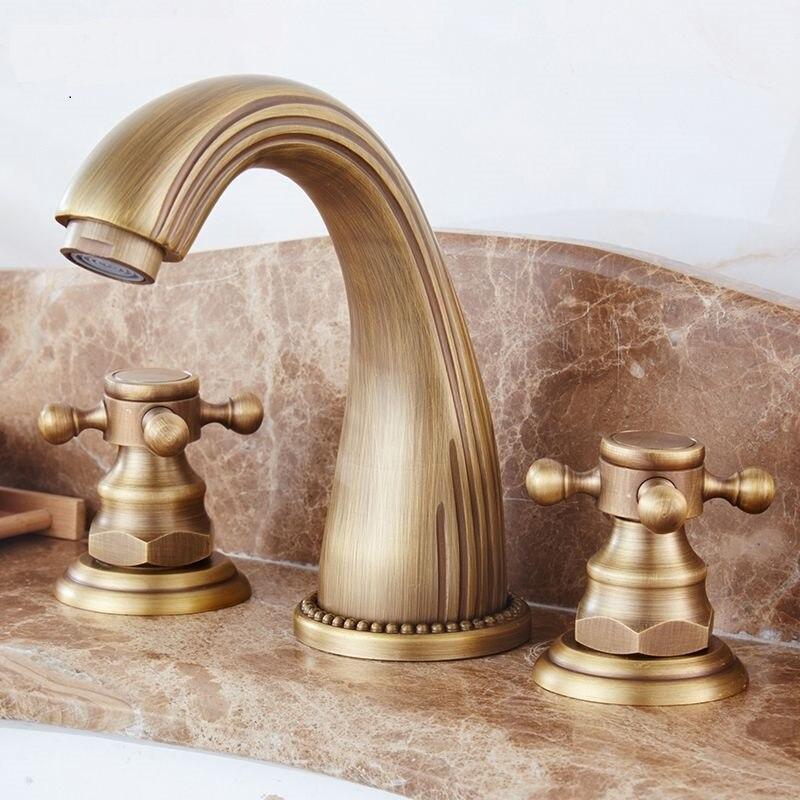 Robinet antique européen rétro trois trous table bassin bassin robinet antique froid et chaud cuivre lavabo LU41338