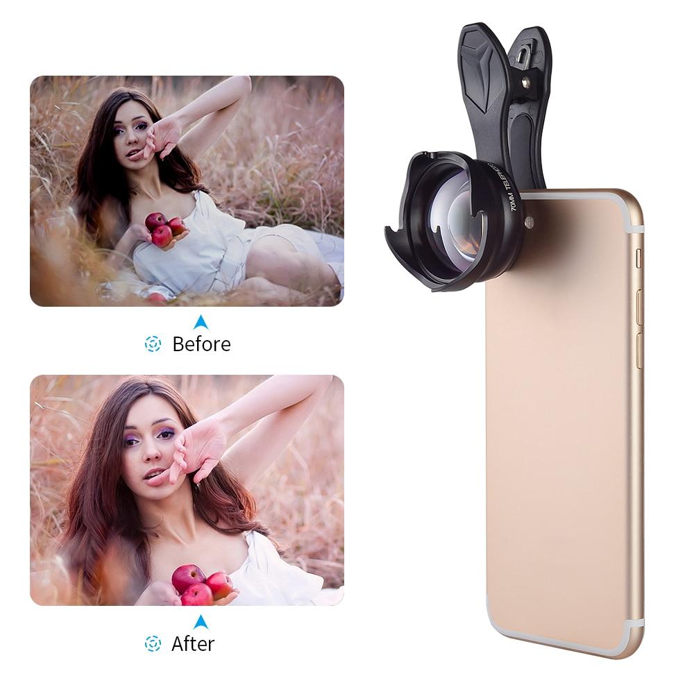 APEXEL 70mm Professionnel téléphone Lentille 2.5X REFLEX Telefon télescope lentille bokeh Portrait pour iPhone6S 7 Xiaomi Android téléphone