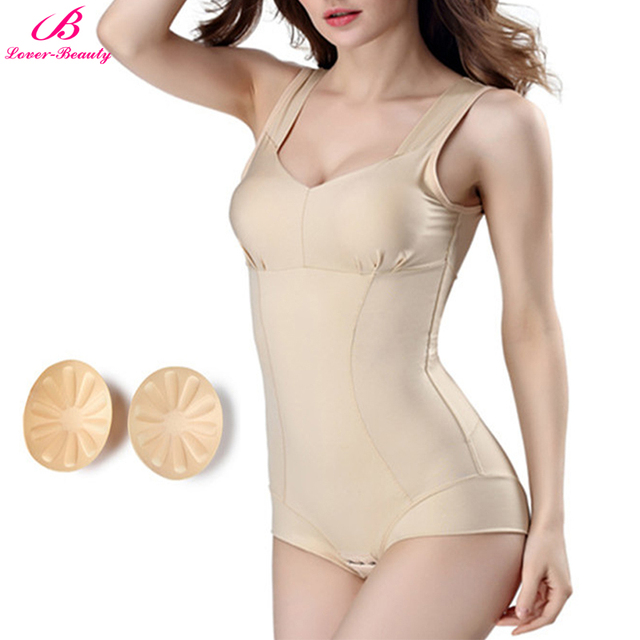 eb941a705f Lover-Beauty Body Shapers Women Overbust Underwear Push Up Padded Bodysuit  Tummy Trimmer Shaping Corset