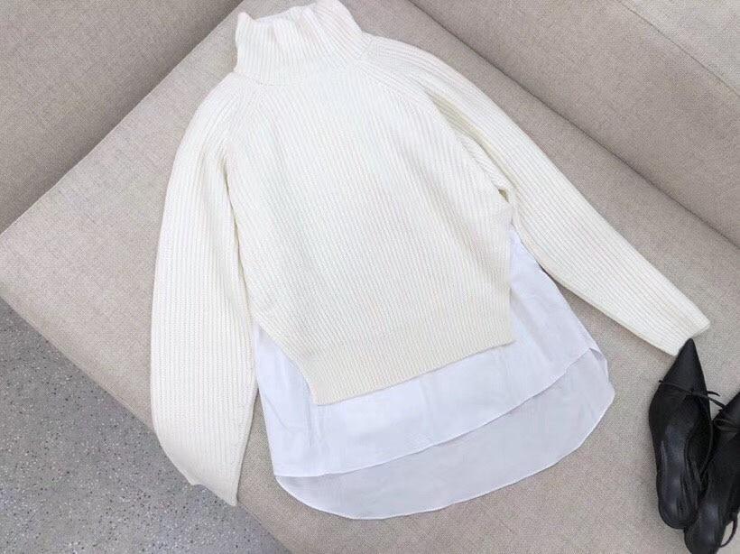 Femmes Rmsx 12 Mode Tricoté Pièces Couleur 06 Faux Chandail 2 2018 Chemise Deux P5qdwPOv