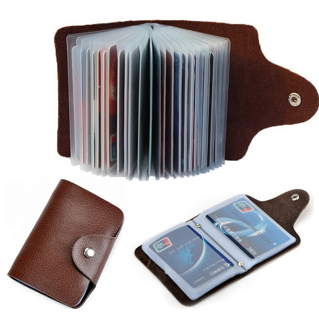 new arrival genuine leather business card case id bag credit card holder 26 slots for men - Leather Business Card Holder