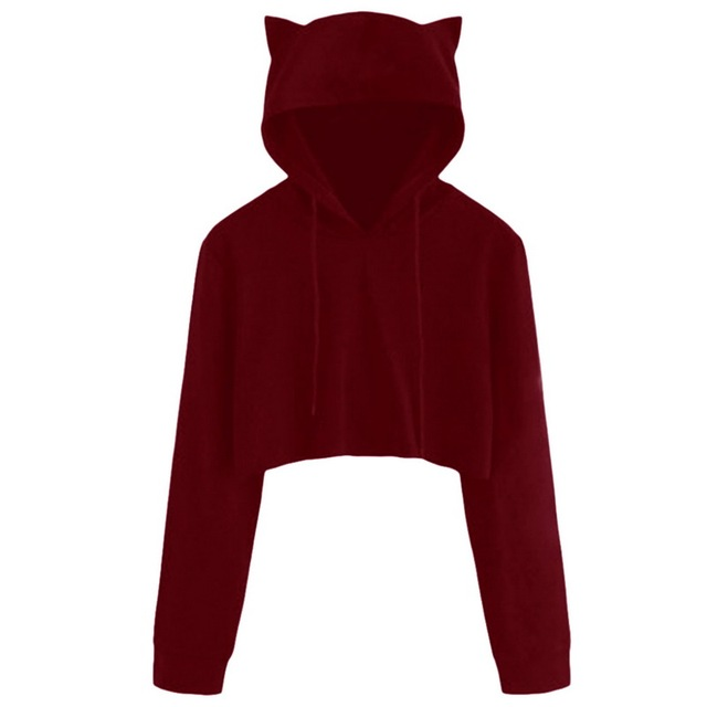 LASPERAL Cute Womens Sweatshirts Hoodie Tops Solid Cat Ear Long Sleeve Cropped Sweatshirt Hooded Pullover Tracksuit Outerwear XL