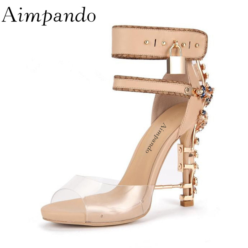 European Stylish Locked Gladiator Sandals Women PVC Transparent Stiletto Heel With Luxury Diamond Sandalias