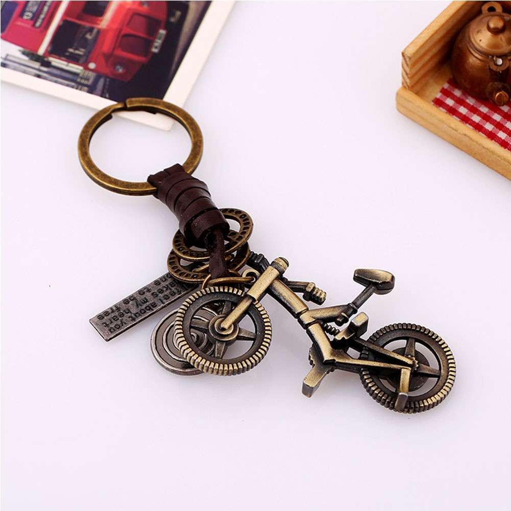 2018 Cheap Retro Bronze Color Keychain Ring Cross/Rabbit Braided Leather Car Key Hang 7 Style Leather Buckle Holder Trinket