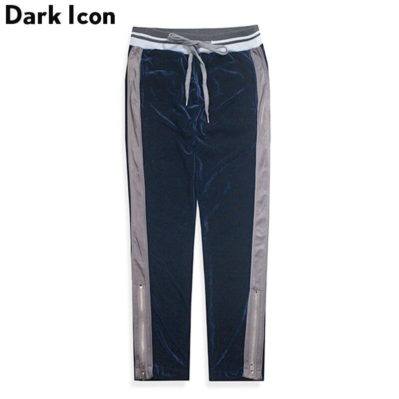 Leg Opening Zipper Side Patchwork Elastic Waist Velvet Material Men's Pants 2017New Fashion Velour Pants Men Trousers Black Blue