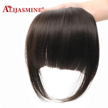 Alijasmine Hair Brazilian Straight Human Hair Bangs For Women Remy Fringe Clip In Bangs Hair Extensions Natural Black Color(China)