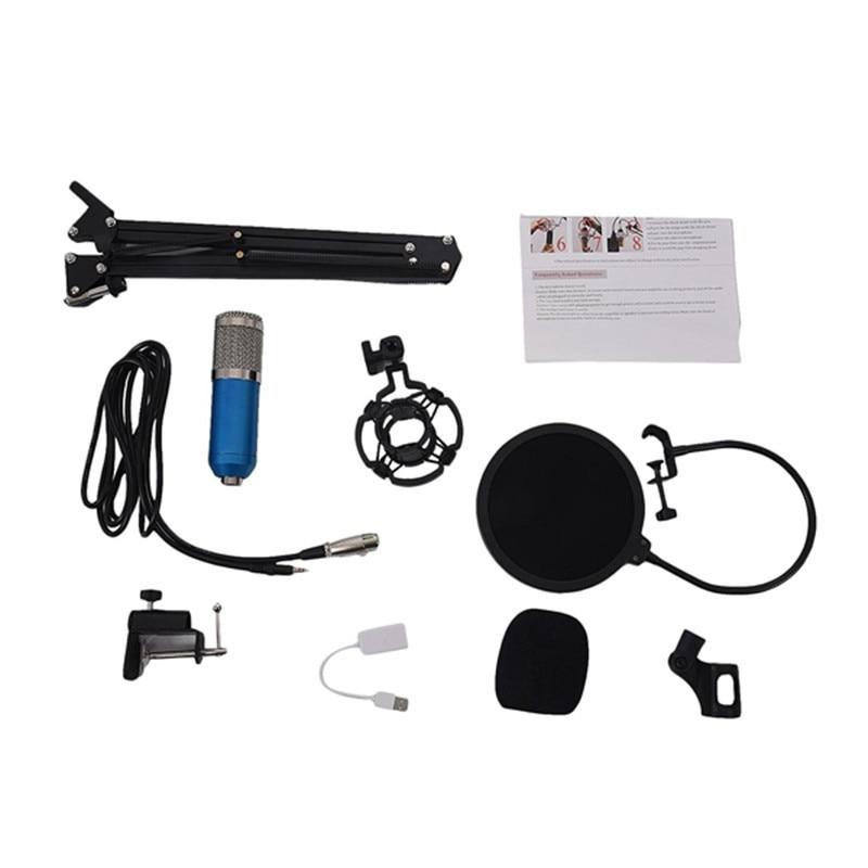 Bm800 Condensator Microfoon Kit Studio Suspension Boom Scissor Arm Geluidskaart Blauw