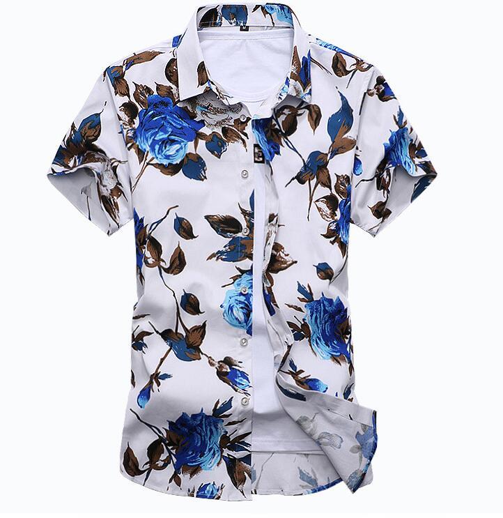 JIN JUE LES 2018 summer new men's Hawaiian shirt casual XL short-sleeved shirt 5XL 6XL 7XL