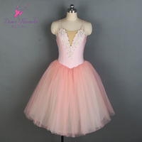 New camisole Pale Pink color long romantic ballet tutu girl & women stage performance dance costume ballet wear tutu
