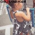 0-7 лет и девушки платья летние 2016 полосы звезды девушки одеваются одежда одеяние fille enfant платье девушка хлопка детей платья для девушки