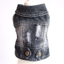 Fashion Casual Denim Pet Dog Jacket Classic Solid Color Clothes for Dogs French Bulldog Clothing Summer Cool Soft Coat 10A