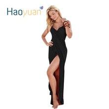 Haoyuan летняя сексуальная макси платье 2017 Спагетти ремень сарафан элегантный Для женщин повязки Платья для женщин с открытыми плечами Бохо длинное пляжное платье