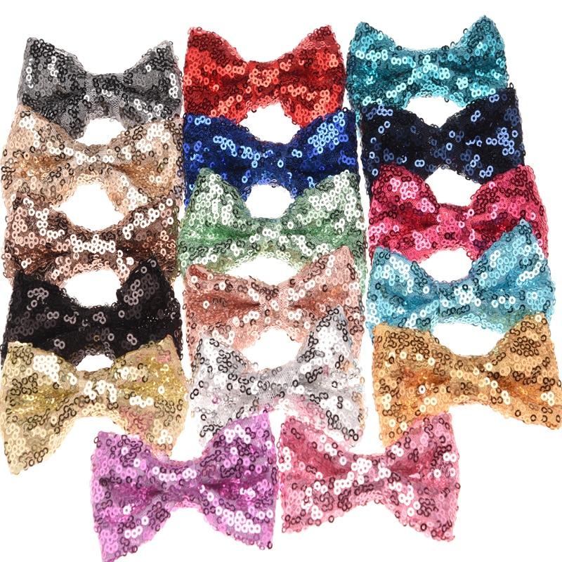 8PCS Glitter Bow Sequin Beading Bowknot Fashion Hair Bow Fashion Hair Accessories No Clips DIY Accessory