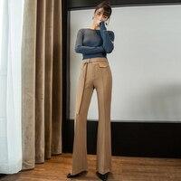 Женские брюки клёш весна и осень 2019 новый хлопок вязать Высокая талия Костюм широкие брюки для женщин брюки для девочек уличная одежда плюс
