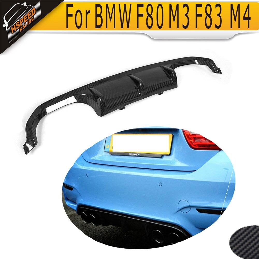 ФОТО M Series carbon fiber car rear lip spoiler diffuser for BMW F80 M3 F82 F83 M4 bumper 2014 -2017 Black FRP