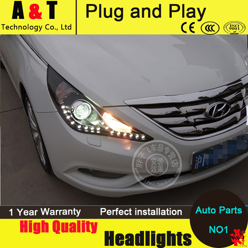 Car Styling For Hyundai Sonata led headlight assembly 2011-2014 sonata8 LED-Type head lamps Angel eyes drl H7 with hid kit 2pcs.