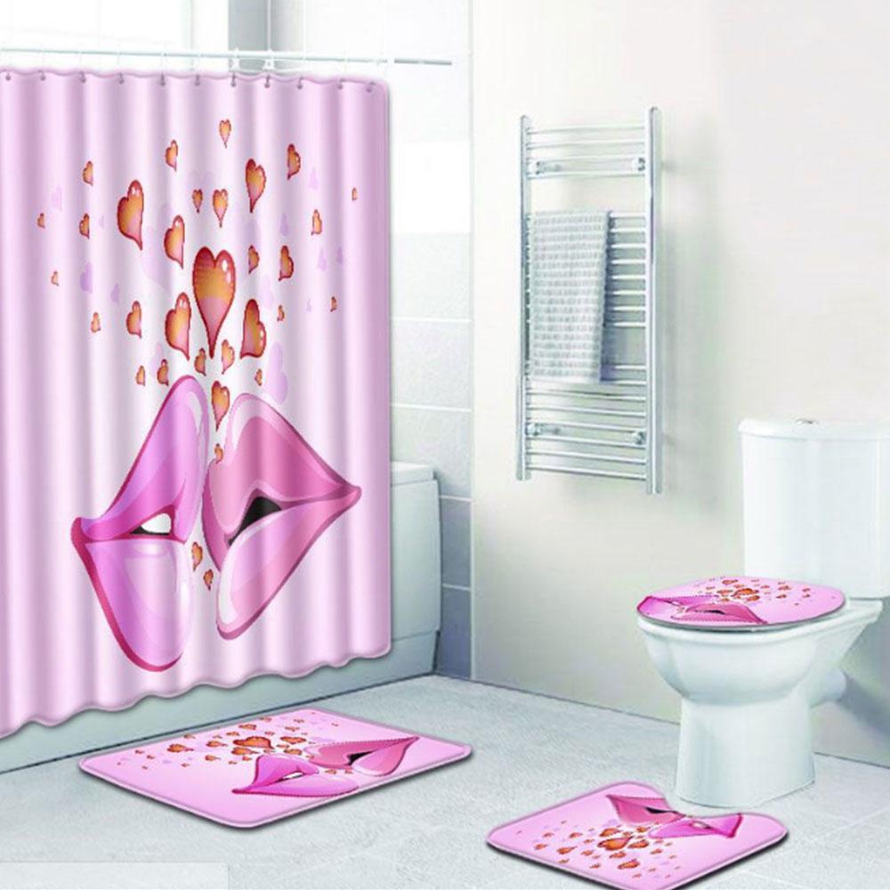 Шторы коврик для ванной комнаты красивый полиэстер 4 шт./компл. любовь Свадебная дорожка зимняя крышка для унитаза противоскользящая Прямая - Цвет: 3