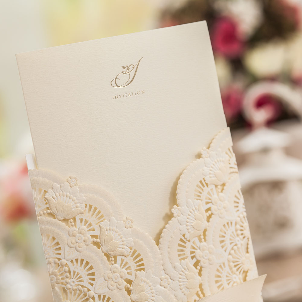 Elegant Beige Lace Wedding Invitations Invite Cards with Ribbon for ...