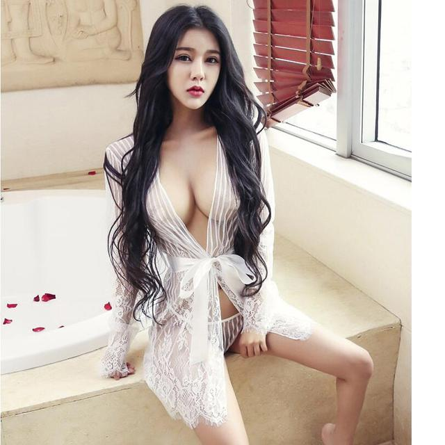 Manufacturers direct sales of high quality underwear sexy lace bathing lips temptation transparent large size pajamas suit