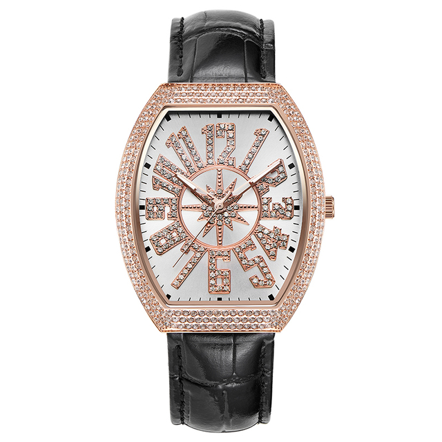 Vintage Ladies Watch Rose Gold Quartz Watch Woman Dress Watch Full Diamond Waterproof Female Table Brand Luxury Clock Large Dial