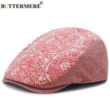 a9e6656d50138 BUTTERMERE Red Beret For Women Print Cotton Flat Cap Men Flower Casual  Duckbill Ivy Hat Vintage
