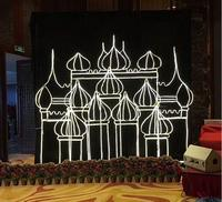 Wedding celebration indoor outdoor camera photography large stage decoration background props iron crown arch castle.