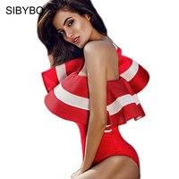 Sibybo Sexy Red Ruffles Bodysuit Combinaison Femme Off The Shoulder Bodycon Romper Women Summer Short Overalls
