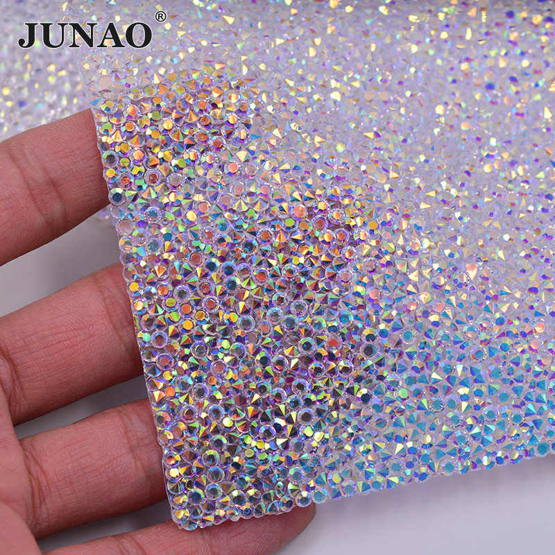 JUNAO 24 40cm Hotfix Crystal AB Rhinestones Fabric Sheet Crystal Mesh Trim  Resin Bead Applique ea45e1d5fa2d