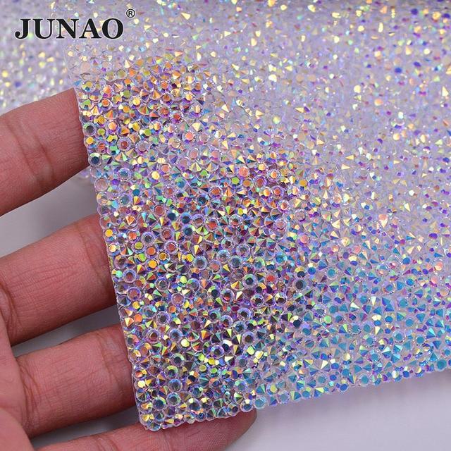 JUNAO 24 40cm Hotfix Crystal AB Rhinestones Fabric Sheet Crystal Mesh Trim  Resin Bead Applique Strass Band For DIY Dress Jewelry c86e31d55355