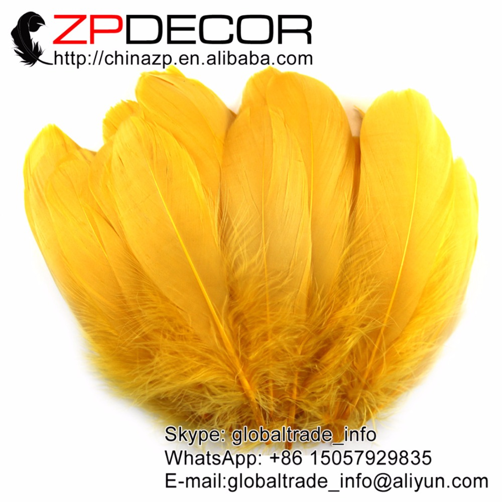 ZPDECOR Specialized Feathers Supplier 10~20cm(4-8inch) 200pieces/lot Fluffy Gold Coquille Goose Feathers