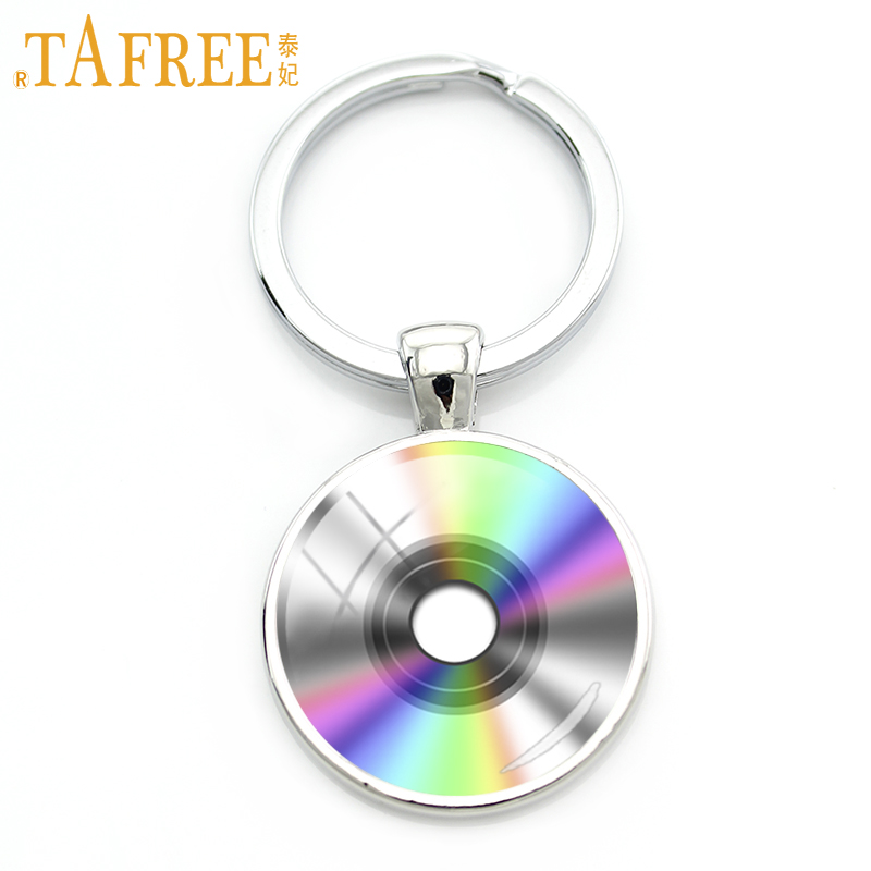 TAFREE colorful CD Keychain Record Disc classic music key chain fashion Keep your eyes and ears open men women jewelry H476 цены онлайн