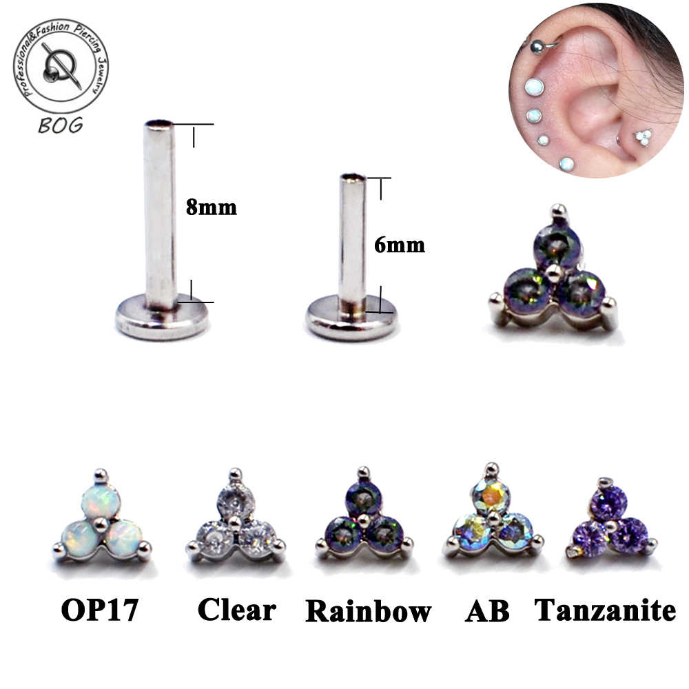 Titanium & Bedah Baja Menage A Trois Internal Threaded Opal Zircon Labret Stud Telinga Tragus Tulang Rawan Anting-Anting Piercing Perhiasan