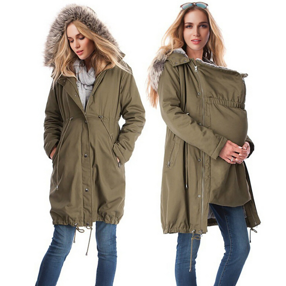 Maternity Clothing Winter Jacket Kangaroo Carrier Mother Fur Coat Patchwork Woman Outwear for Pregnant Clothes S-3XL Plus Size