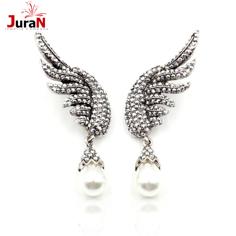 2016 New brand design statement  fashion stud Earrings for women pearl wing earring Factory Price earring E1208