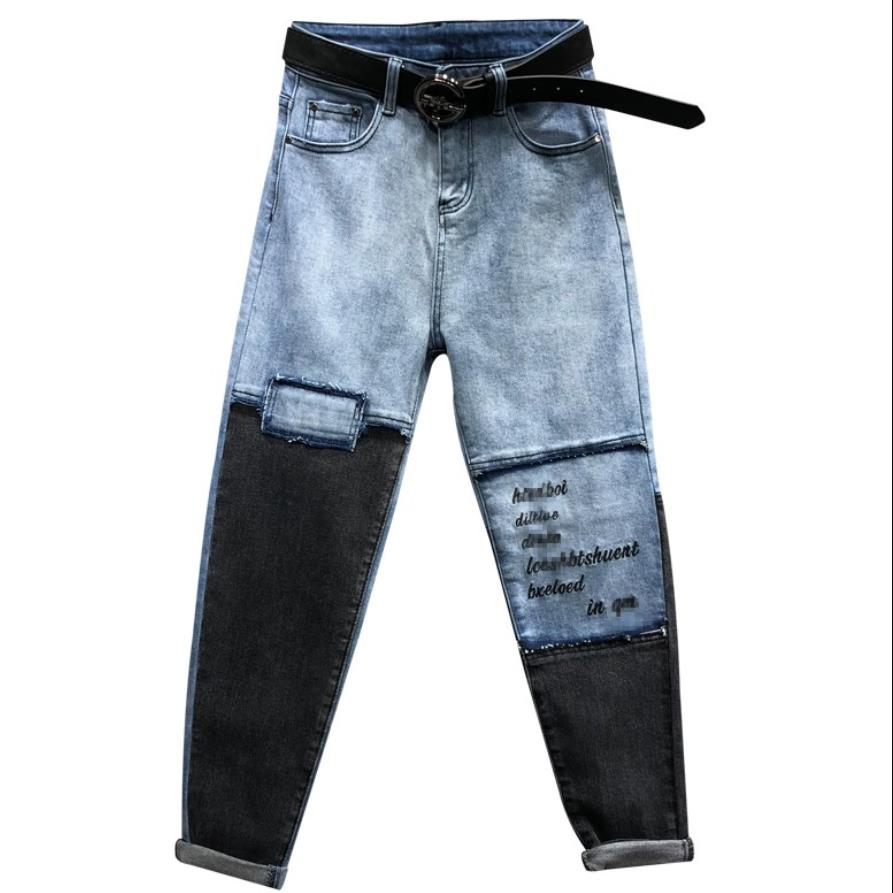 2019 Spring Loose stitching jeasn hit color Harlan   jeans   AB face embroidery letters   jeans   women plus size