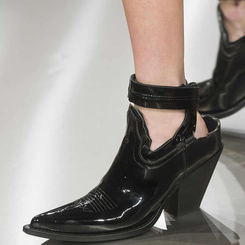 Punk Tarzı Bilek Bandı yarım çizmeler Yaz Yüksek Sokak Moda Kovboy yarım çizmeler Sivri Burun deri ayakkabı Kadın