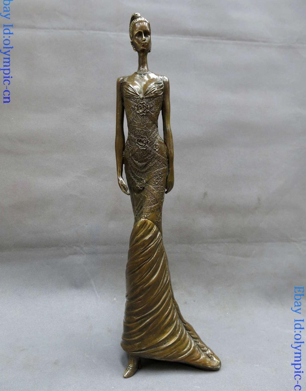Belle sculpture en laiton et laiton de 16