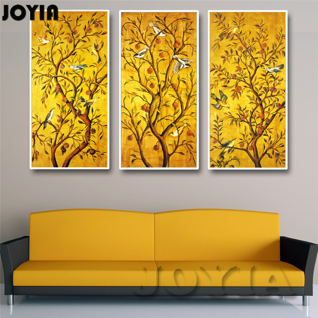3 Piece/Set Golden Fruit Trees Birds Classical Wall Art Canvas Vintage  Paintings For Home