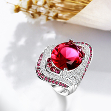Hot-selling standard 925 Sterling Silver Lady personalized classic fashion Ruby Ring Engagement anniversary gift party
