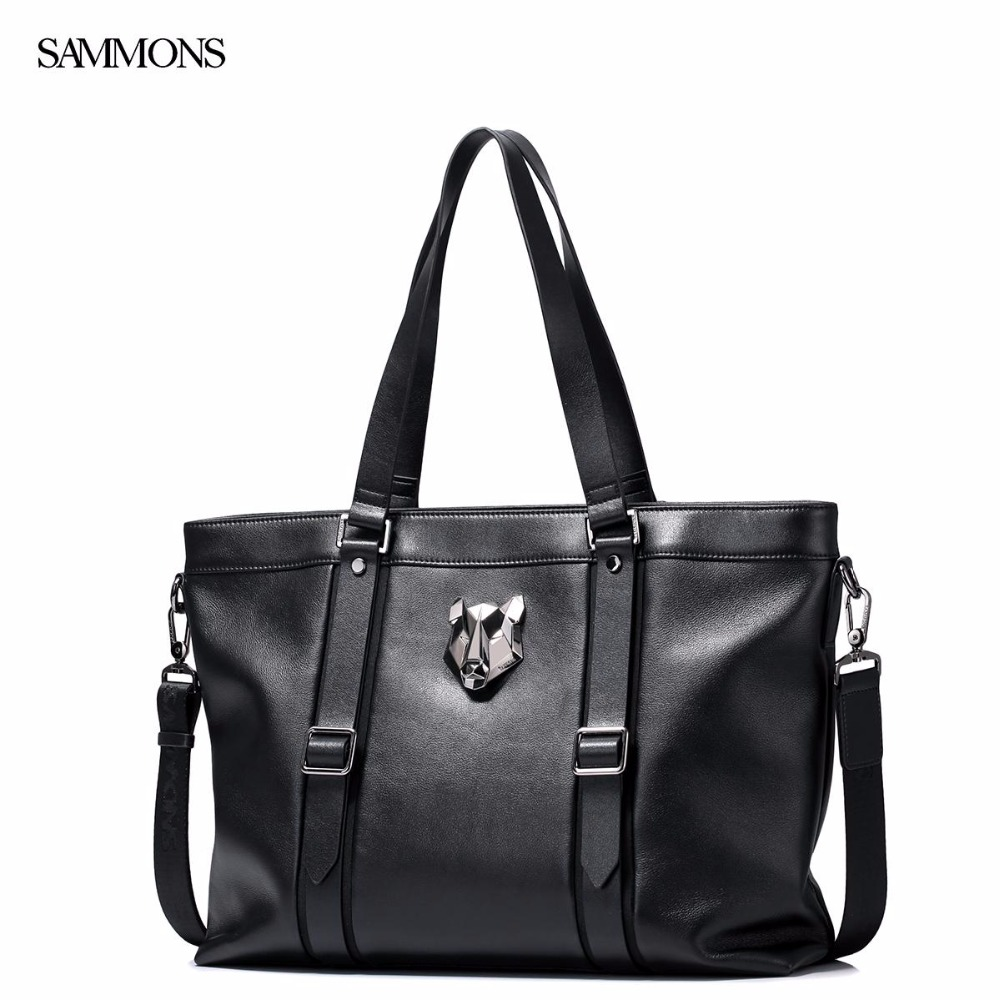 New SAMMONS Brand Design Fashion Tiger Head Casual Genuine Cow Leather Large Men Handbag Shoulder Bag Travel Tote Bags  sammons brand new design fashion genuine cow real leather men long zipper clutches cards phone holder wallet
