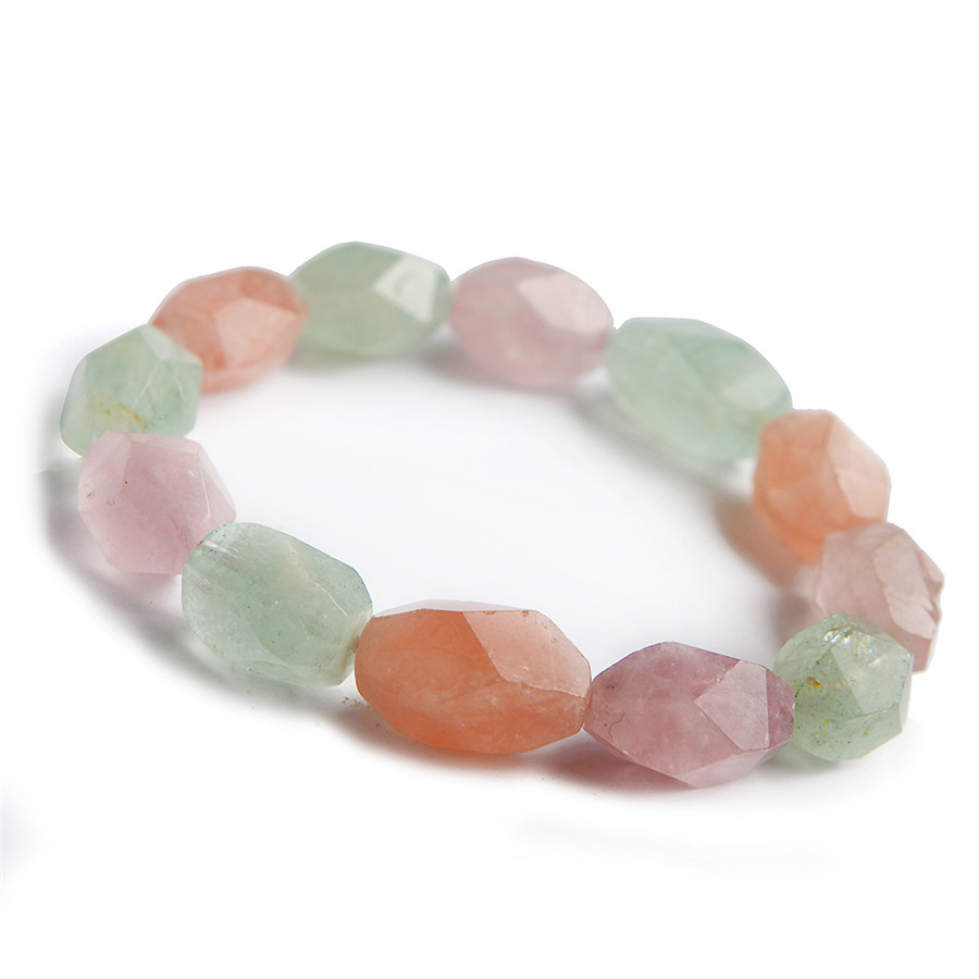 18*11mm Fashion Jewelry Stretch Bracelets For Women Genuine Colorful Natural Morganite Stone Round Beads Charm Bracelet Femme18*11mm Fashion Jewelry Stretch Bracelets For Women Genuine Colorful Natural Morganite Stone Round Beads Charm Bracelet Femme