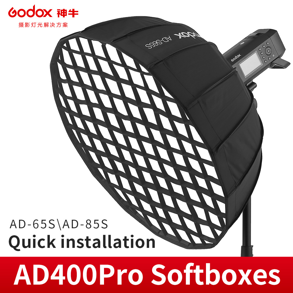 Godox AD S65S 65cm Deep Parabolic Softbox Inside Silver with Honeycomb Grid Godox Mount Softbox for