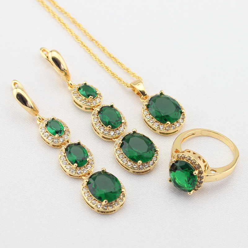 WPAITKYS Women Gold Color Jewelry Sets Green Stones White CZ Long Earrings Necklace Pendant Rings Free