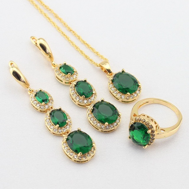 WPAITKYS  Women Gold Color Jewelry Sets Green Stones White CZ Long Earrings/Necklace Pendant/Rings Free Gift Box