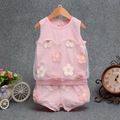 2016 Summer Baby Clothing Sets Cotton Kids Clothes Newborn Baby Girl Short Set Kids Flowers Gauze Sleeveless T-shirt+Shorts Set