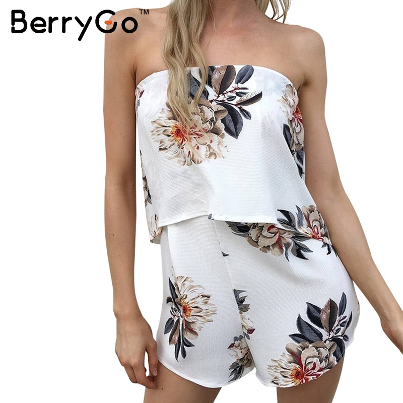 1ccc9c48e724 BerryGo Strapless floral print sexy bodysuit tube beachwear Elegant women  jumpsuit romper Casual chiffon summer playsuit leotard