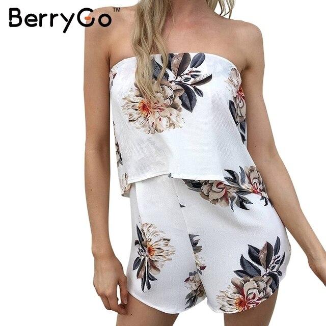 BerryGo Strapless floral print sexy tubo bodysuit beachwear mulheres Elegantes jumpsuit romper playsuit collant Ocasional chiffon verão