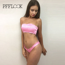 Pfflook Sexy Bandeau Swimwear Bikini Set Women Pink Top Bottom Swimsuit Biquini 2017 Summer Style Beachwear Push Up Bathing Suit