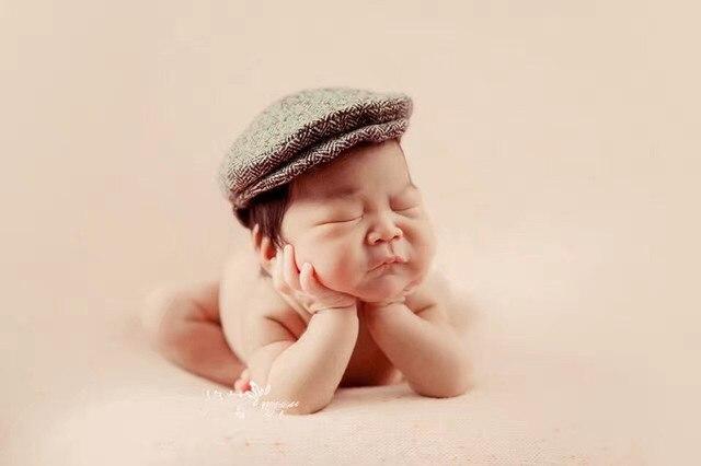 1c2c8e1cb 0-3 meses bebé sombrero y corbata espalda fotografía recién nacido lindo  bebé pequeño Caballero